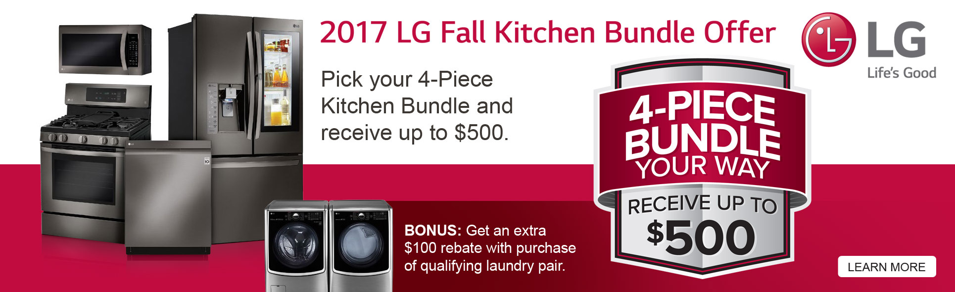 Save up to $500 with qualified LG Appliance purchase